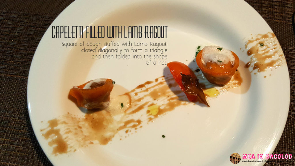 Bacolod Academy for Culinary Arts - Menu 2: Capeletti filled w/ Lamb Ragout | Mea in Bacolod