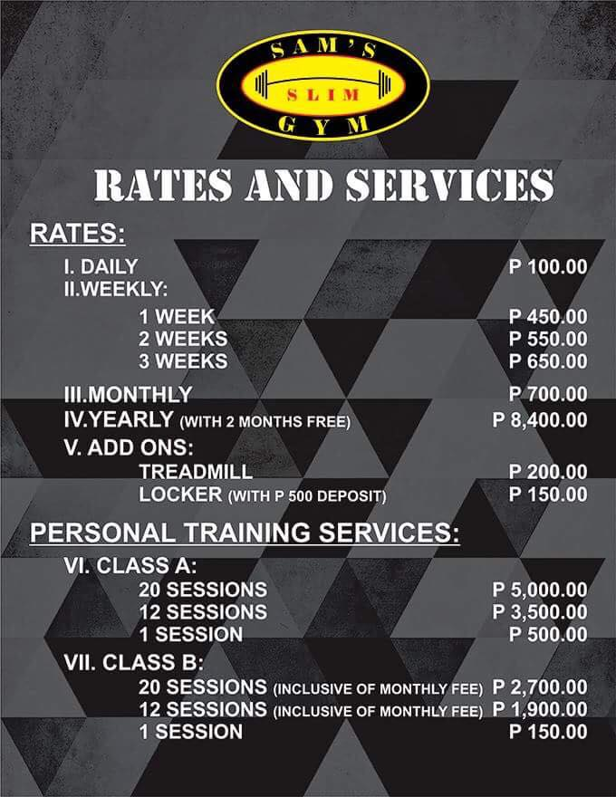 Sam's Slim Gym Rates | Mea in Bacolod