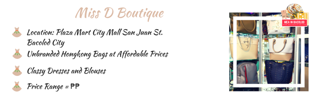 Miss D Boutique at Plazamart Mall Bacolod